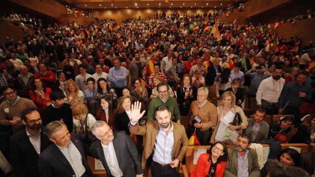 Santiago Abascal, líder de Vox, ayer durante un acto de la campaña electoral del 28A