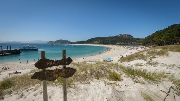 Vista de la playa de Rodas, en las Islas Cíes