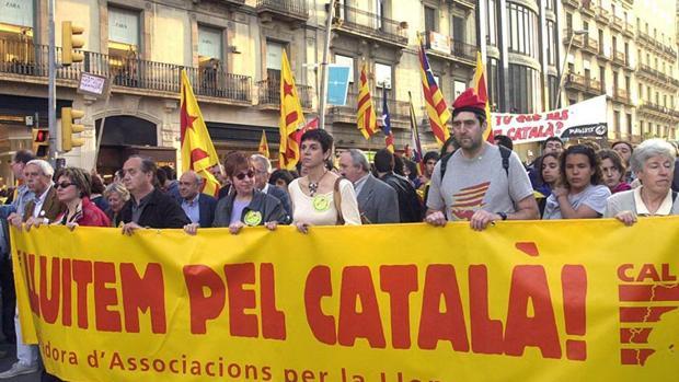 Manifestación a favor del catalán