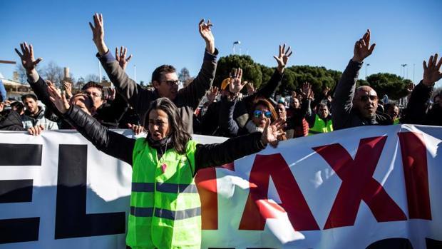 Quinto día de la huelga del taxi, el pasado 25 de enero