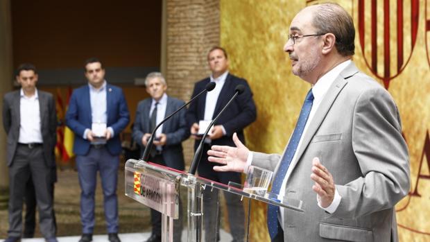 Lambán, durante su discurso en la entrega de la Medalla al Mérito Social de Aragón a las organizaciones agrarias