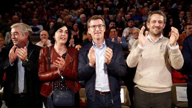 Barreiro, Candia, Feijóo y De Olano, en el mitin de esta tarde en Lugo