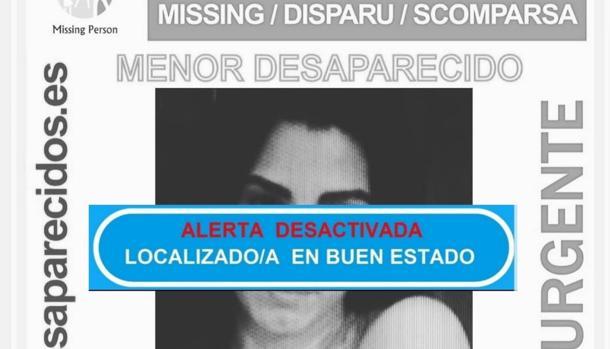 Imagen de la alerta desactivada por la desaparición de Dalila