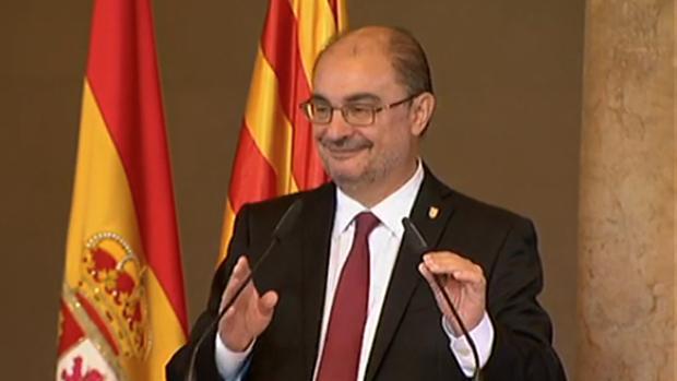 Javier Lambán, durante su intervención en el acto institucional de San Jorge
