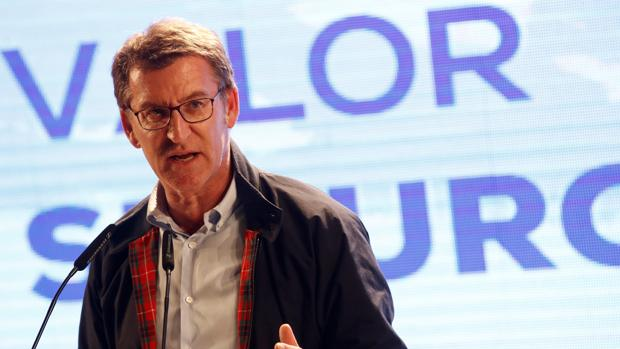 Alberto Núñez Feijóo, este lunes en un mitin del PPdeG en Lugo