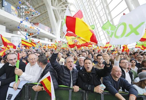 Imagen del mitin celebrado este jueves por Vox en Valencia