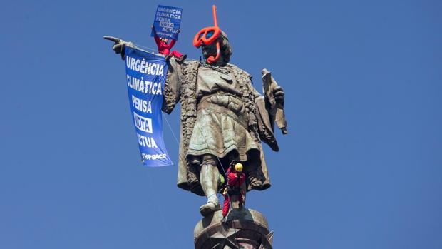 Estado en el que ha quedado la estatua de Colón
