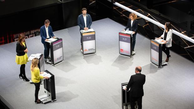 Los candidatos a las elecciones por Cataluña, hace unos días en un debate en TV3