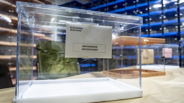 Imagen de las urnas empleadas en las elecciones valencianas del 28A