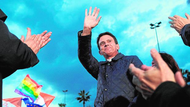 El candidato a la alcaldía de Barcelona, Manuel Valls, durante un acto de Cs en la pasada campaña