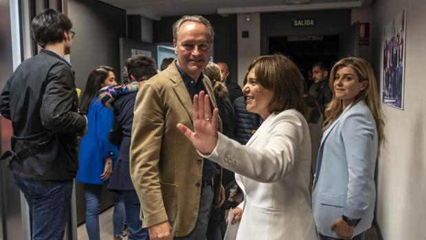 Isabel Bonig y Alberto Fabra, este domingo en la sede del PPCV