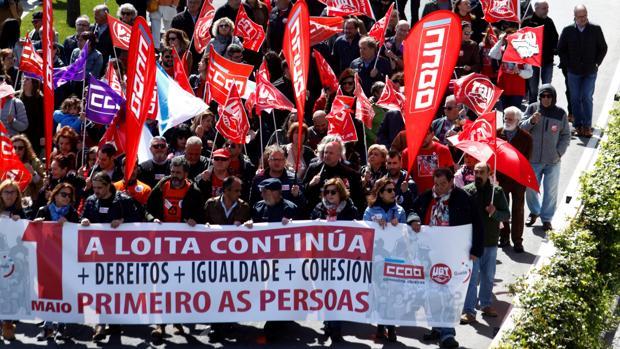 Manifestación central de CCOO y UGT en La Coruña