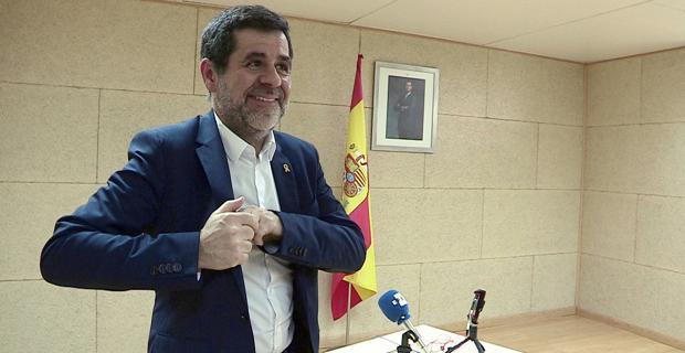 Jordi Sànchez, expresidente de la ANC, durante una rueda de prensa desde la cárcel de Soto del Real