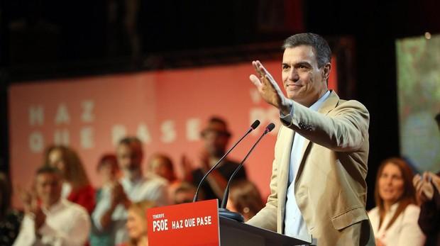Pedro Sánchez, en un acto de la campaña electoral de las generales