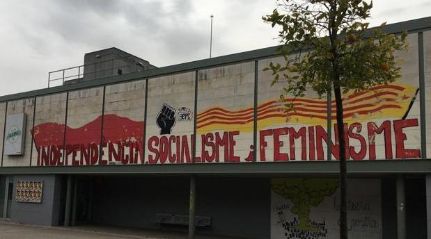 Una de las pintadas partidistas en el campus de la UAB