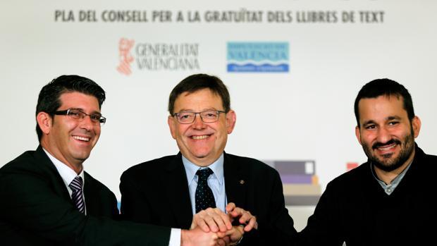 Imagen de archivo de Jorge Rodríguez, Ximo Puig y Vicent Marzà