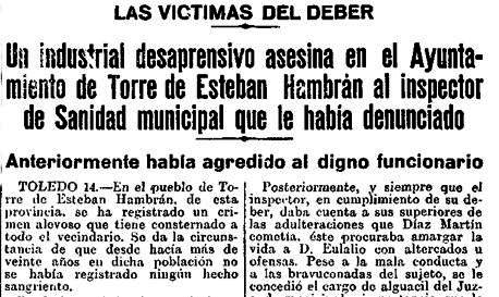 """Titulares del """"Heraldo de Madrid"""" dando cuenta del crimen cometido en La Torre"""