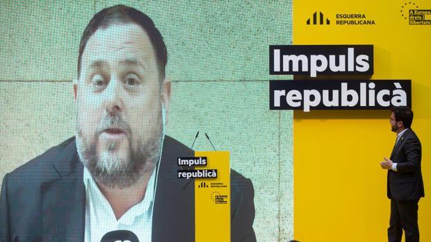 Junqueras interviene mediante un vídeo grabado en la cárcel en un acto electoral de ERC el martes