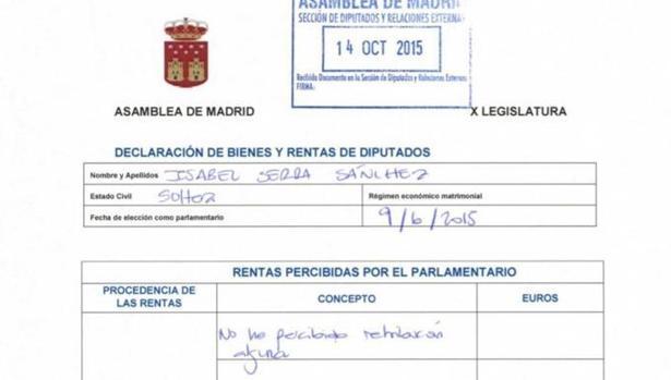 Declaración de bienes de la diputada de Podemos Isa Serra
