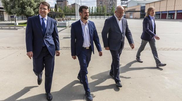 Mañueco, Tudanca, Igea y Fernández, a su llegada al debate