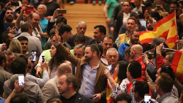 El líder de Vox, Santiago Abascal, durante un acto de su partido en Valladolid en la pasada campaña electoral