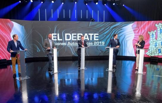 Los cinco candidatos en el plató durante el debate