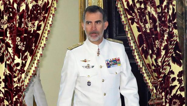 Felipe VI en el Palacio Real, tras recibir en audiencia a grupo de grupo de coroneles y capitanes de navío l