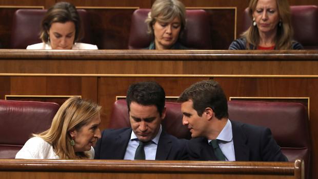 Ana Pastor, teodoro García Egea y Pablo Casado, hoy en el Congreso de los Diputados