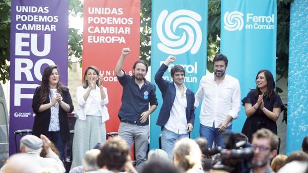 Iglesias, rodeado por Jorge Suárez, Yolanda Díaz y otros candidatos populistas