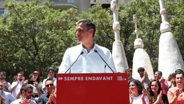 Pedro Sánchez, durante el mitin que ha realizado en Palma de Mallorca