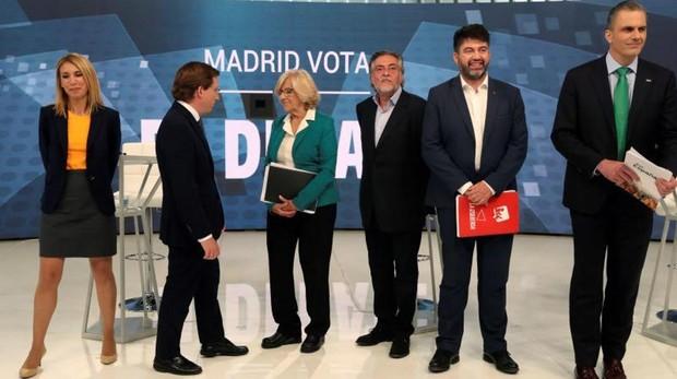 Los candidatos al Ayuntamiento, ayer, en el debate de Telemadrid