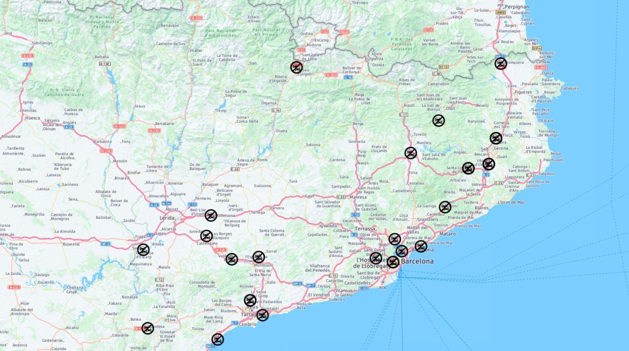 Mapa De Carreteras Cortadas De Barcelona Y Cataluna