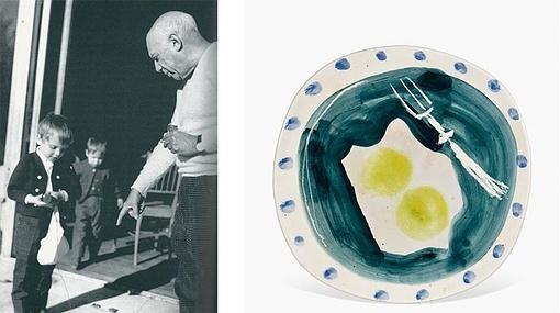 Miguel Bosé y Pablo Picasso en los años 60, y una de las obras que el artista malagueño regaló al cantante en su infancia