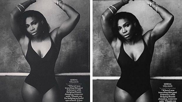 Serena con y sin photoshop
