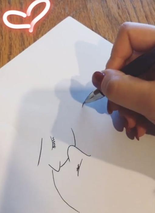 Momento compartido por Laura mientras pintaba la ilustración