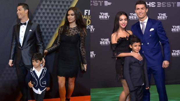 A la izquierda, Cristiano Ronaldo con Irina Shayk y Cristiano Ronaldo Jr. en la gala de los premios Balón de Oro en Zúrich en 2014. A la derecha, el pasado 13 de enero con Georgina Rodríguez los premios The Best en Zúrich