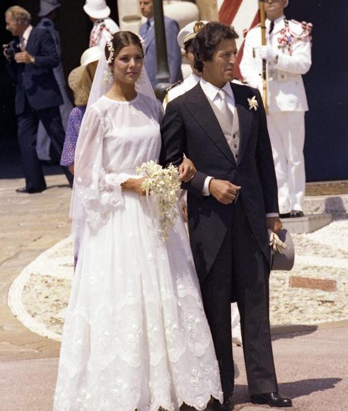 Vestido de Marc Bohan para Dior en su boda con Pilippe Junot