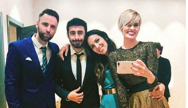 Rayden, Irene Junquera , Sergio Abad y Adriana Abenia, en la boda de Risto Mejide y Laura Escanes.