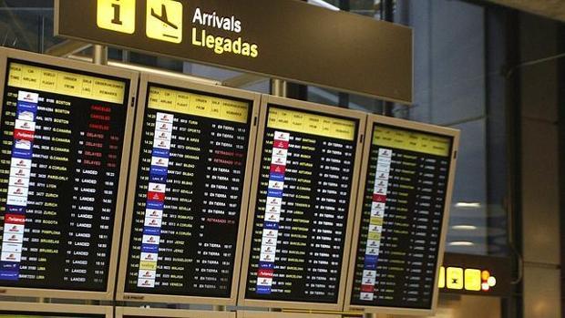 Panel de control en el aeropuerto de Barajas