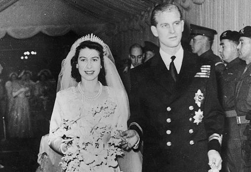 La Reina Isabel II el día de su boda, en 1947