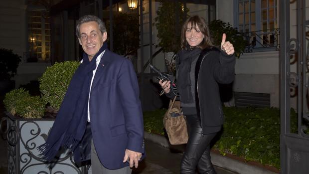 Carla Bruni y Nicolas Sarkozy, el miércoles, en el hotel Santo Mauro de Madrid