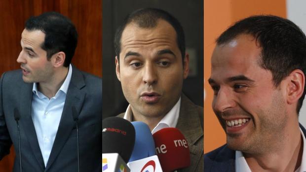 De izquierda a derecha: Ignacio Aguado esta semana, en 2016 y en 2015