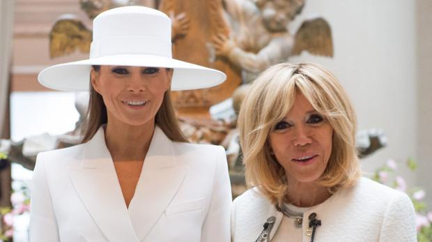 Brigitte Macron junto a Melania Trump