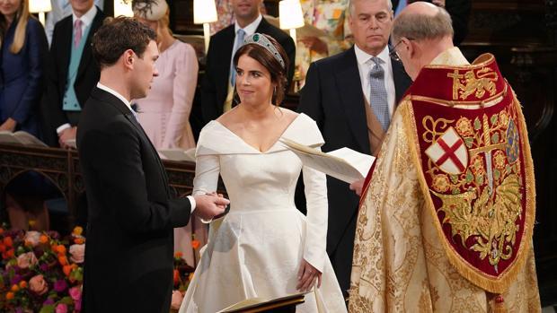 La Princesa Eugenia y Jack Brooksbanck, en el altar
