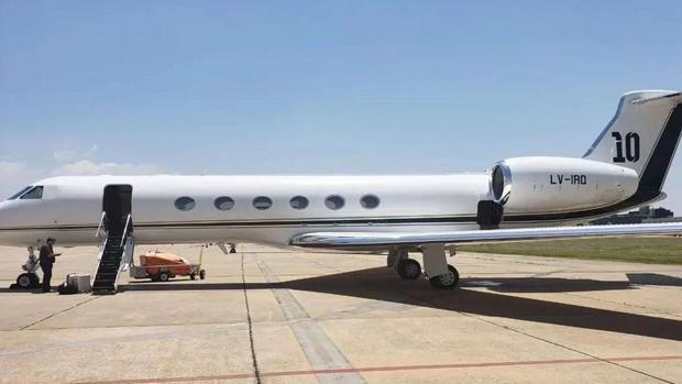 Vista del avión privado de Leo Messi