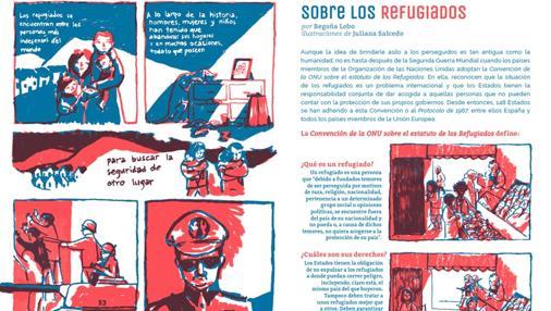 Una de las páginas de la revista ¡La leche! sobre la crisis de los refugiados