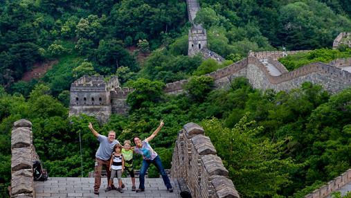 Miquel, Ona, Ferrán y Sara en la Gran Muralla China
