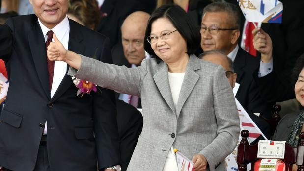 La presidenta Tsai Ing-wen, durante la celebración de la Fiesta Nacional