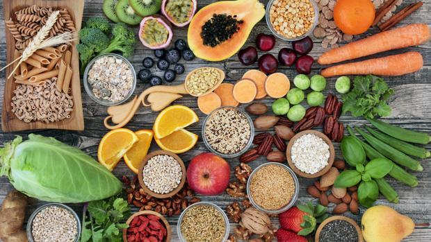 Alimentos ricos en fibra.