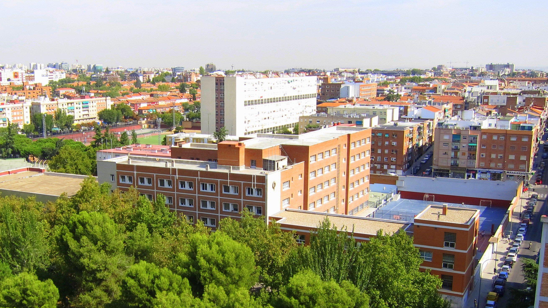 Vista aérea del colegio situado en el barrio de Quintana